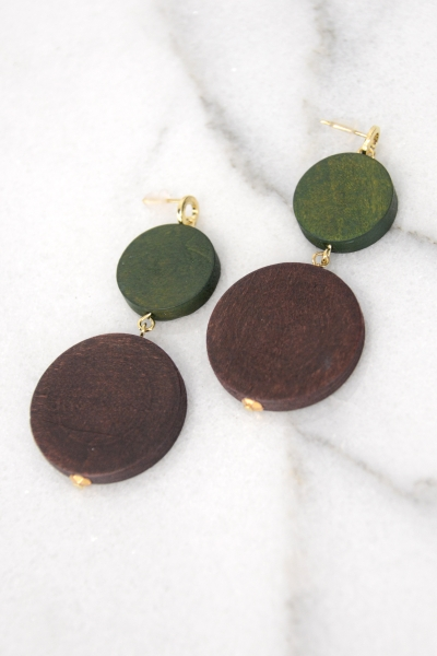 Round Wood Earring, Olive/Wine