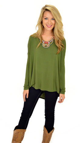 Pleat Back Tee, Green