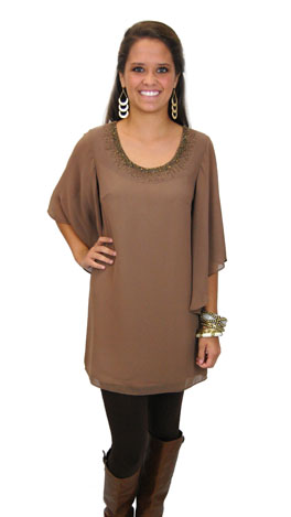 Taupe-fully Frock