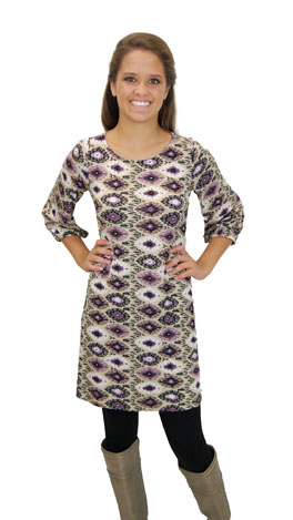 Basic Boatneck Tunic, Purple Aztec