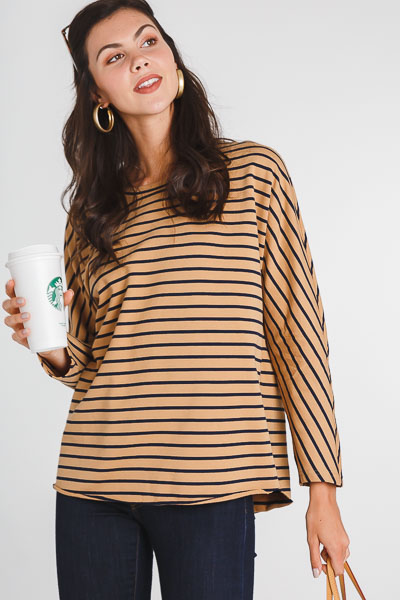 French Stripes Knit Top, Camel