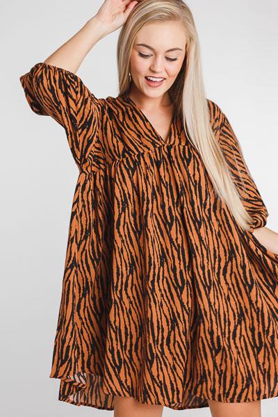 Zebra Babydoll Dress, Camel
