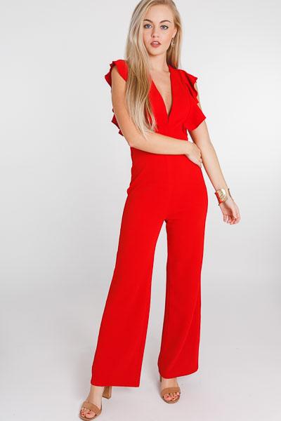 Roxy Ruffle Jumpsuit, Red