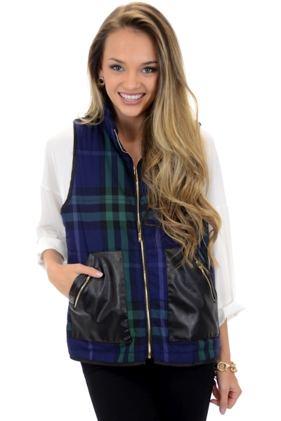 Leather and Plaid Vest
