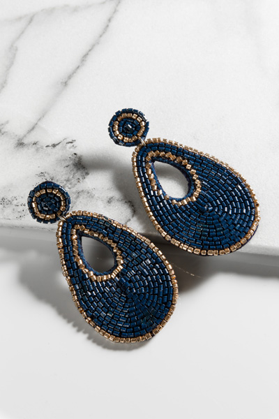 Beaded Teardrop, Navy