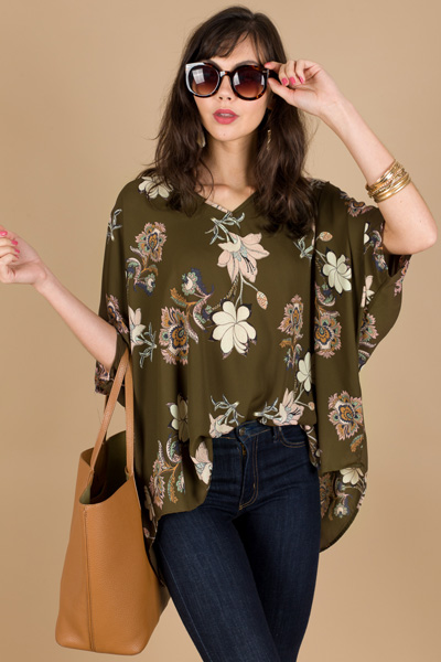 Favorite Boxy Tunic, Olive Floral