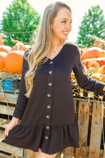 Drop Hem Button Dress, Black