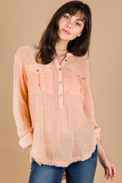 Free People Talk to Me Button Down, Peach