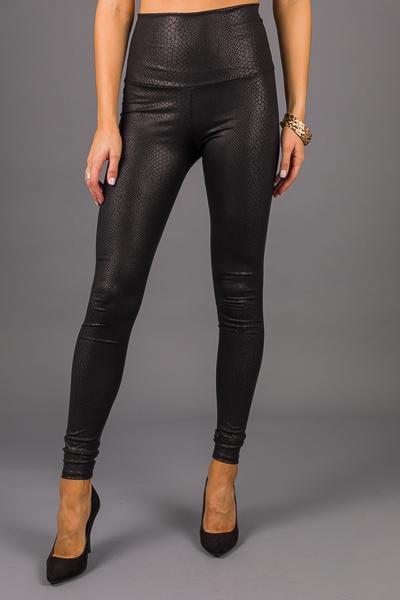 Snakeskin Leather Leggings