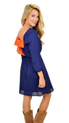 Bow Back Dress, Navy