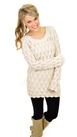 Dew Drops Sweater, Ivory