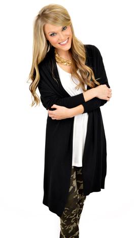 Lux Cashmere-ish Cardigan, Black