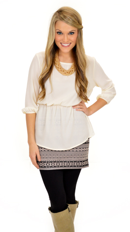 Simple Peplum Top, Ivory