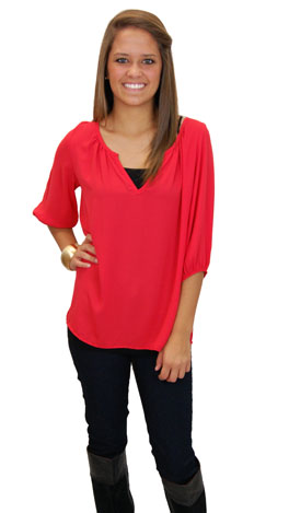 Dobby Blouse, Red