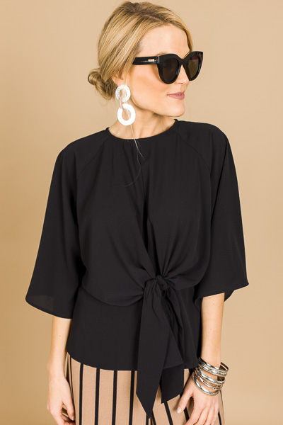 Knotted Crepe Blouse, Black