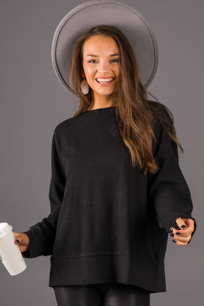 Box Out Solid Pullover, Black
