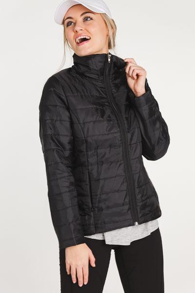 Quilted Stripe Jacket, Black