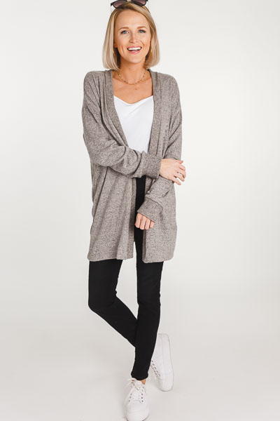 Brushed Open Front Cardi, Grey