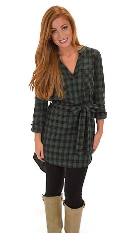 Too Bad, So Plaid Dress, Green