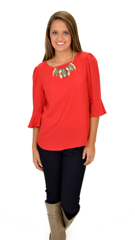 Bell Sleeve Blouse, Red