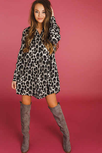 Rolled Sleeve Leopard Dress