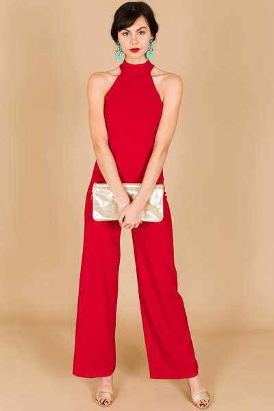 Haley Halter Jumpsuit, Red