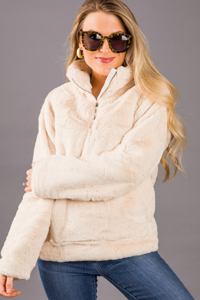Faux Fur Pullover, Natural