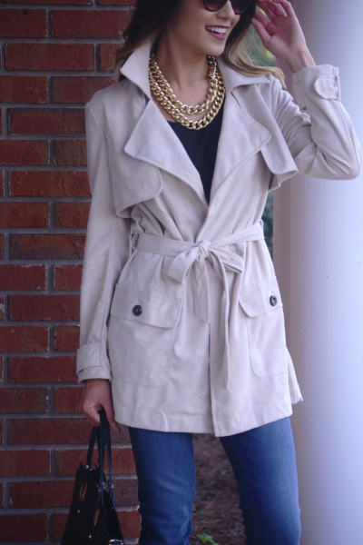 Audrey Suede Trench