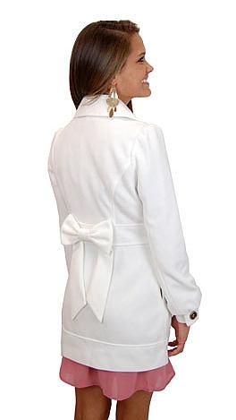 Bow Back Coat, Ivory