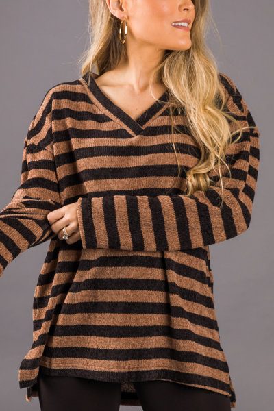 Bandit Stripe Sweater, Taupe Black