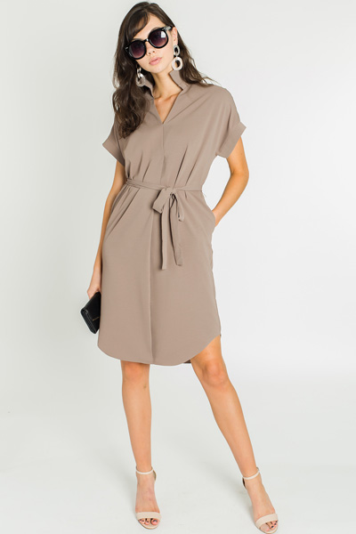 Lily Tie Dress, Taupe