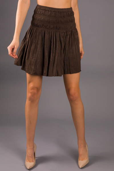 Crinkle Smocked Skirt, Chocolate