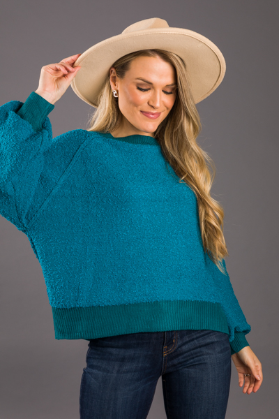 Boat Neck Sweater, Peacock