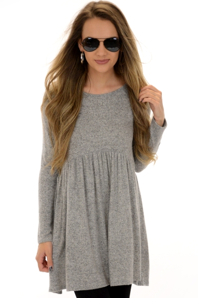 Brushed Babydoll Frock, Grey