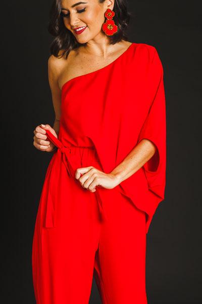 Red Hot One Shoulder Jumpsuit