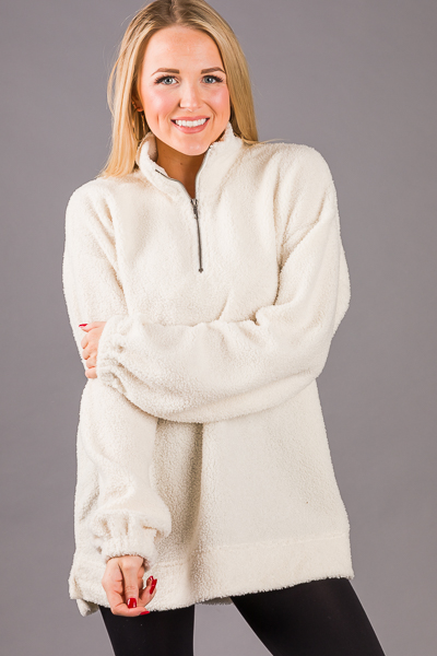 Fall Fuzzy Half Zip Pullover, Ivory