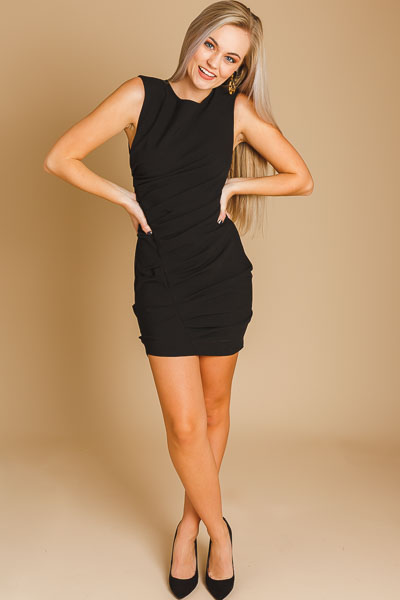 Sinful Ruched Dress, Black