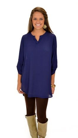 Simply Solid Tunic, Navy