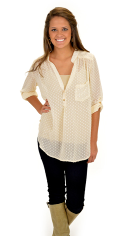 Dots Forever Blouse, Cream