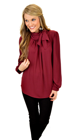 Tied the Knot Top, Burgundy