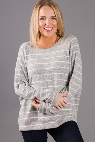 Soft Banded Stripe Top, Grey