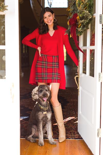 Margie Plaid Skirt, Red