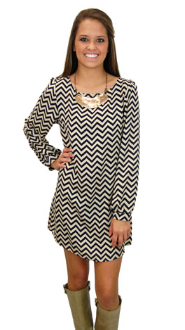 Chevron Dress, Navy