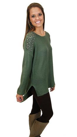 KARLIE Shimmer Shoulder Sweater