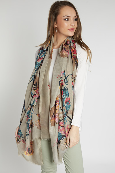 Golden Floral Scarf, Taupe