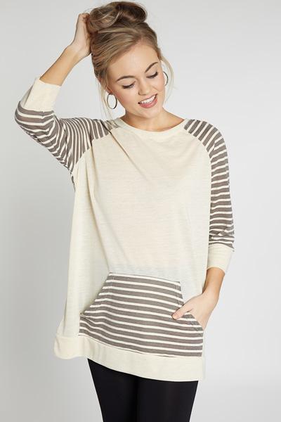 Kanga Striped Tunic, Oatmeal