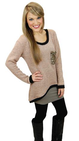 KARLIE Sequin Pocket Sweater