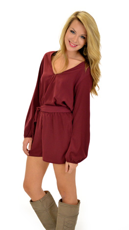 Date Night Romper, Burgundy