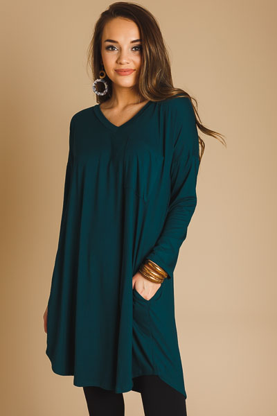So Soft V Dress, Hunter Green