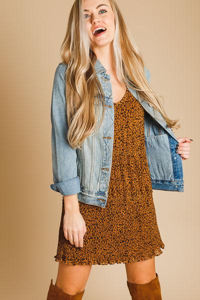 Cheetah Micro Pleat Dress